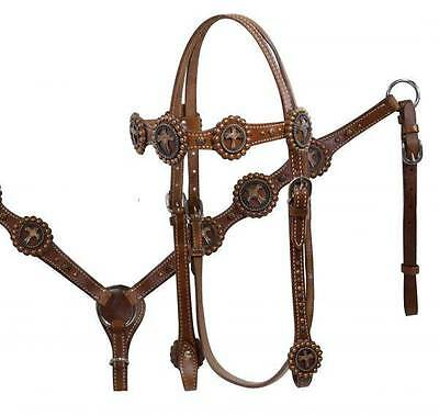 Showman Leather Headstall & Breast Collar Set W/ Vintage Copper Cross Conchos!