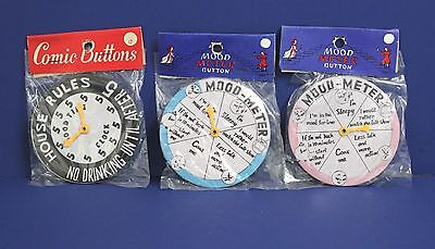 """Lot of 3 Japan Tin Love Mood Meter Drinking 3.5"""" Pinback Buttons Mint NOS  60s"""