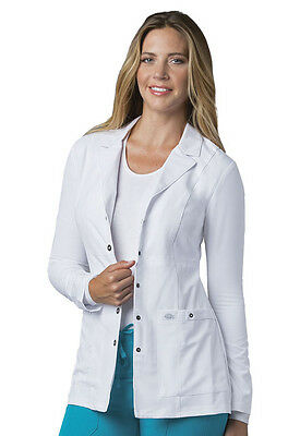 """Scrubs Dickies 28"""" Xtreme Stretch Snap Front Lab Coat 82400 White  FREE SHIPPING"""