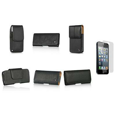Leather Holster Belt Clip Case Pouch+Screen Protector for Apple iPhone 5 5S