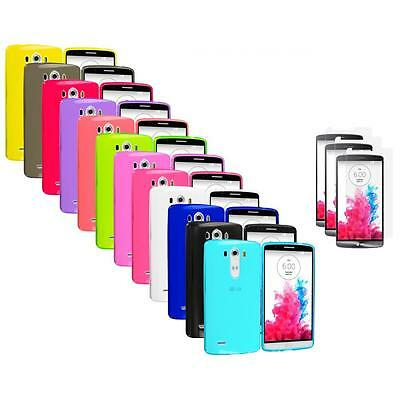 For LG G3 TPU Transparent Rubber Flexible Case Cover 3X Screen Protector