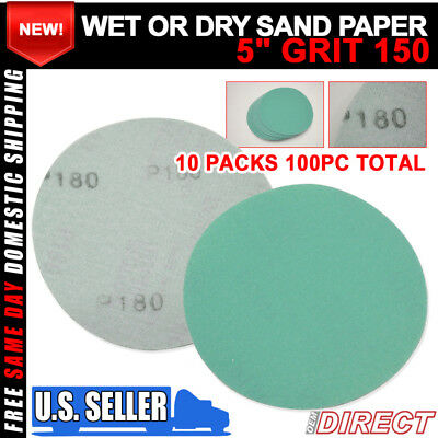 x100 Wet Dry Green Body Repair Sand Paper Bumper Sanding Disc 180 Grit 5Inch PSA