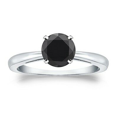 2.25 Ct Round Black Real 14K White Gold Solitaire Engagement Wedding Ring