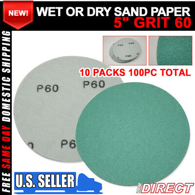 x100 Wet Dry Abrasive Sanding Paper Auto Body Repair Sanding Disc 60 Grit 5 Inch