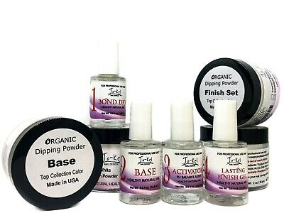 Jo-Kel Dipping Powder 1-4 System + 2oz Base + 2oz Finish Set + Brush Cleaner