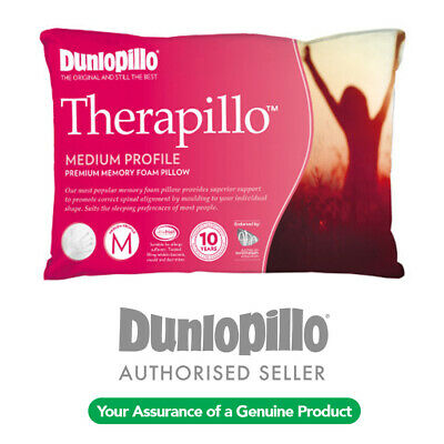 DUNLOPILLO Therapillo Medium Profile Premium Memory Foam Pillow NEW