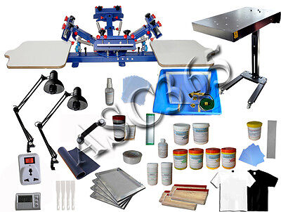 Silk Screen Printing 2 Station 4 Color Press & Dryer &Material Kit Print T-shirt