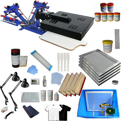Screen printing 3 Colors New Kit Printer w Flash Dryer Ink Squeegee Hand Tool