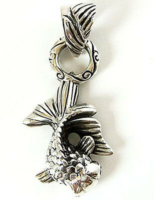 Japanese Goldfish Fish Solid Sterling 925 Silver Pendant