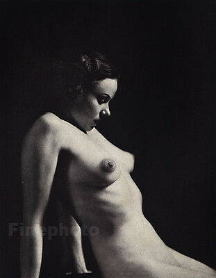 1937 Original Art Deco ~ FEMALE NUDE Woman Photo Litho By ALFRED CHENEY JOHNSTON