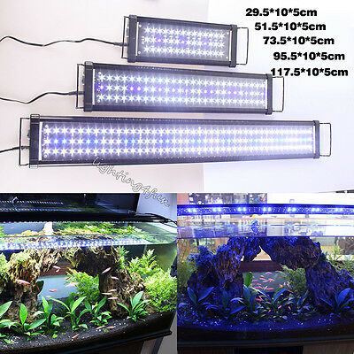 30-120cm Stretch Aquarium Aqua Fish Tank LED Light Hood Blue& White Marine Fresh