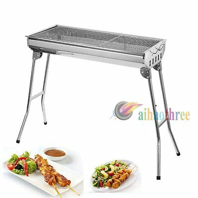 New Portable Folding Stainless Steel Charcoal BBQ Grill Outdoor Picnic Camping