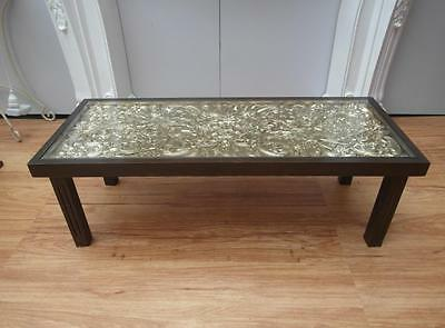 Vintage INTRICATELY Carved ASIAN Oriental COFFEE Table GLASS Top TIMBER Adelaide