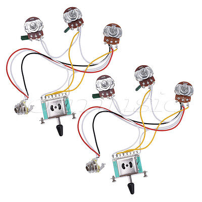 electric prewired guitar wiring harness kit 3 way toggle switch guitar wiring harness prewired kit for strat parts 5 way 500k 2t1v pack of 2