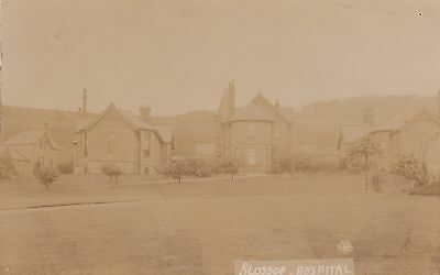 Glossop Hospital Derbyshire, Real photo, old postcard, posted 1908