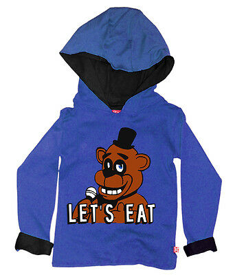 Kids Boys Girls Five Nights At Freddy's Fazbear Gift Hoodie Hoody (Blue)