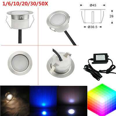 1-50Pcs 1W 12V 45mm Outdoor Garden Stairs Path LED Deck Recessed Inground Lights