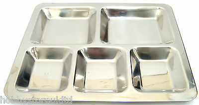 Indian Thali Stainless Steel Food Dish Food Tray 5 Compartment Dinner Plate New