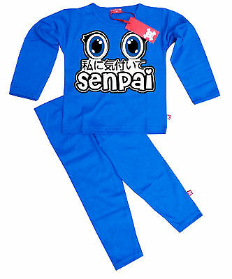 STARDUST Kids Boys Girls PewDiePie Notice Me Senpai Manga Anime PYJAMAS (BLUE)