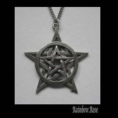Chain Necklace #1334 Pewter PENTAGRAM (40mm x 37mm)