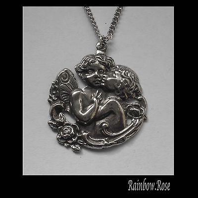 Chain Necklace #1354 Pewter TWO CHERUB ANGELS (35mm x 30mm)