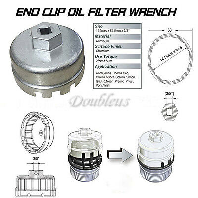 Oil Filter Wrench Cap Housing Tool Remover 14 Flutes Universal For Lexus Toyota