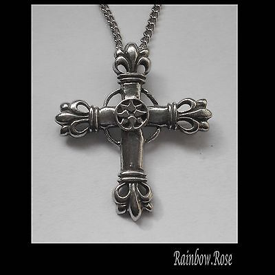 Pewter Necklace on Chain #1356 decorative CROSS (35mm x 30mm)