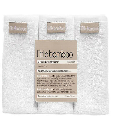 New Little Bamboo Natural White Towelling Washers Baby Wash Cloths (3 Pack)