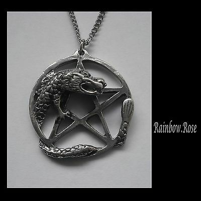 Pewter Necklace on Chain #1372 PENTAGRAM with DRAGON (33mm x 31mm)