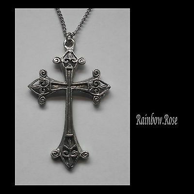 Pewter Necklace on Chain #1383 DECORATIVE CROSS (55mm x 34mm)