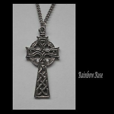 Chain Necklace #1390 Pewter CELTIC CROSS (37mm x 17mm)