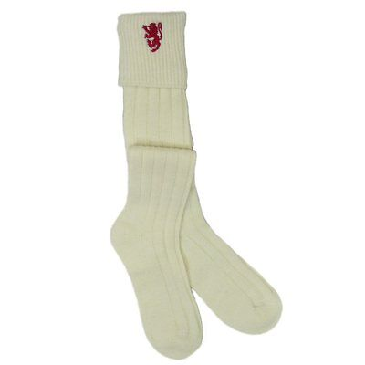 Cream/Ecru Kilt Hose/Socks With Scottish Red Lion Rampant Embroidery