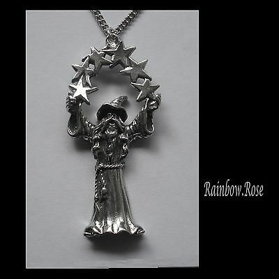 Chain Necklace #441 Pewter WIZARD with STARS (52mm x 24mm)