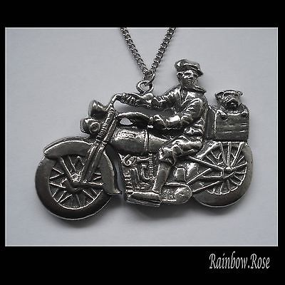 Chain Necklace #1434 Pewter MOTOR CYCLE / RIDER & DOG (55mm x 39mm)