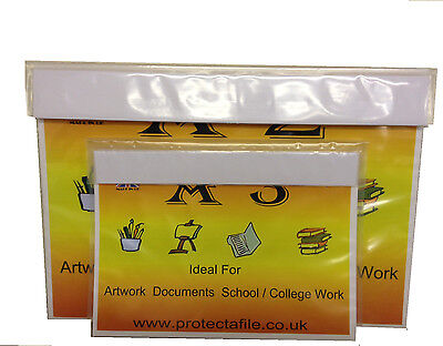 A2 clear School Carry Case Portfolio Flat Artwork Paper Storage Folder