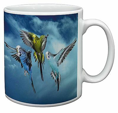 Budgies in Flight Coffee/Tea Mug Christmas Stocking Filler Gift Idea, AB-96MG
