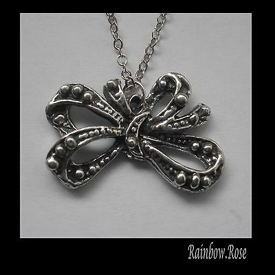 Chain Necklace #1451 Pewter BOW (17mm x 26mm)