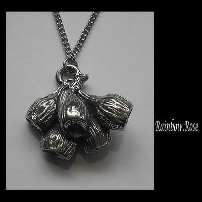Chain Necklace #1461 Pewter GUMNUTS BUNCH (30mm x 26mm)