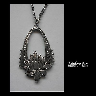 Chain Necklace #1473 Pewter LOTUS FLOWER & ARCH (33mm x 19mm)