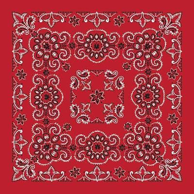 "New 27"" x 27"" Oversized Red Paisley Bandana Handkerchief Scarf 100% Cotton"