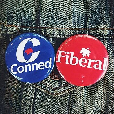 CANADIAN POLITICAL PARTY BUTTONS conservative liberal NDP canada justin trudeau