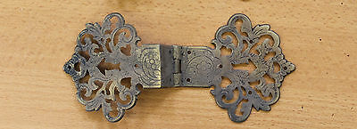 Single Reclaimed Decorative Pierced Brass Clasp Hinge