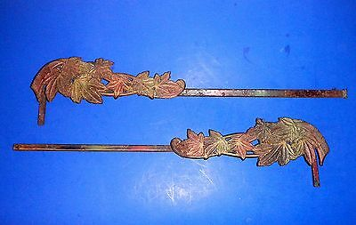 Pair of Antique Extending Swing Arm Cast Iron Leaves Curtain Rods - As-is