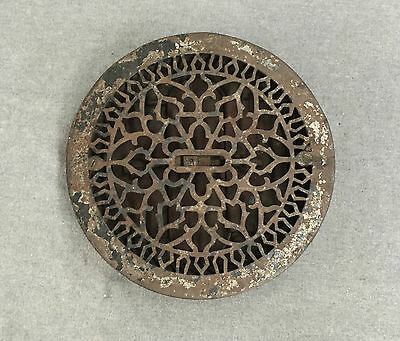 "Antique Cast Iron Round Floor Heat Grate Register Old Gothic Vtg 9"" 1029-16"