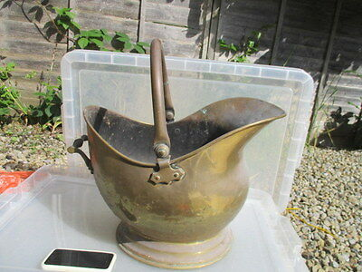 Large Antique Brass Fireplace Coal Bin Log Basket Scuttle Vintage Old Planter