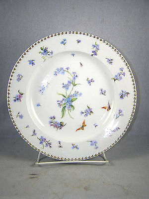 EARLY Berlin Porcelain Co.  KPM Hand Painted Plate - Blue Flowers - Beaded Edge