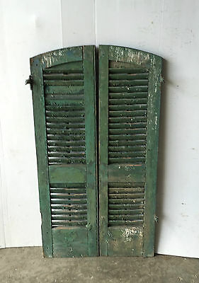 Pair Vtg Arch Top House Window Wood Louvered Shutters Shabby 13x48 Old 1031-16