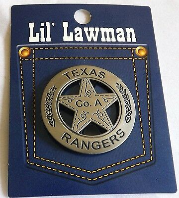 Lil' Lawmen Badges -- Texas Rangers Co. A  Brass/Steel - Silver Plated  Made USA