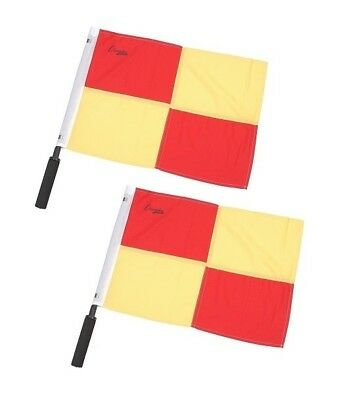 New Champion Sports 2 Linesman Referee Soccer Officials Flags Red Gold Squares