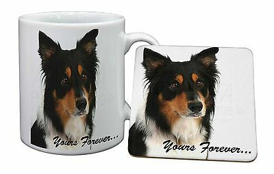 "Tri-colour Border Collie Dog ""Yours Forever..."" Mug+Coaster Christma, AD-CO33yMC"